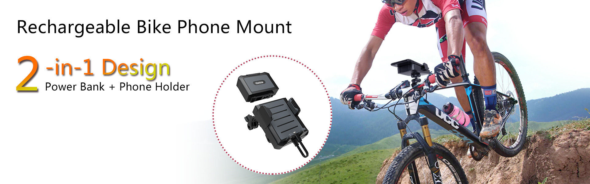 Rechargeable bike mount phone holder